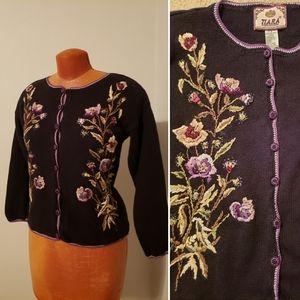 Vintage TIARA floral embroidered cardigan